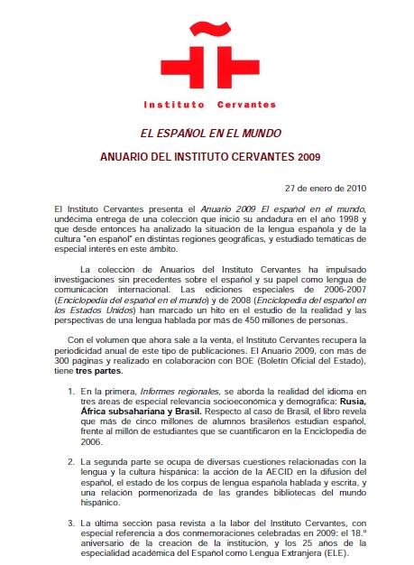 Informe sobre el idioma español en el mundo - Año 2009